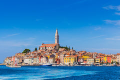 Panoramic view on old town Rovinj from harbor. Istria peninsula, Croatia.  royalty free stock photography
