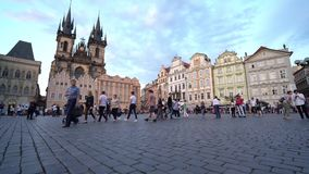 Old town square in Prague. Panoramic view of the old town square in Prague, Czech Republic stock video footage