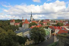 Panoramic view of the old town of Tallinn its beautiful colorful houses, Estonia stock photography