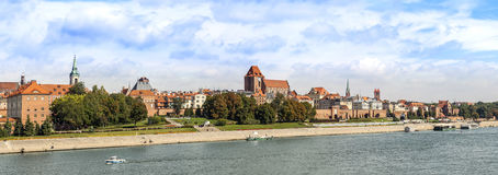 Panoramic view of old town in Torun, Poland. Stock Images