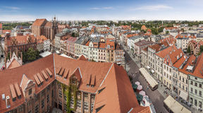 Panoramic view of old town in Torun, Poland. Stock Photo