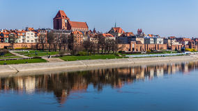 Panoramic view of the old town in Torun stock photo