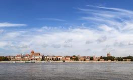 Panoramic view of old town in Torun on Vistula bank, Poland. Stock Photo