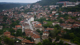 Panoramic view of  Old Town and Tzarevetz fortressat at Veliko Tarnovo, Bulgaria. Royalty Free Stock Images