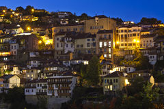 Panoramic view from old town Veliko Tarnovo at night Royalty Free Stock Photo