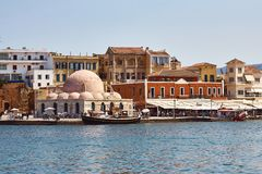 View of the old town and venetian port of Chania, Crete, Greece royalty free stock photos