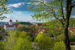 Panoramic view of the old town of Vilnius, Lithuania. Stock Images