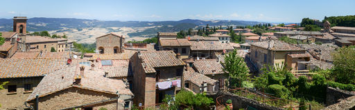 Panoramic view at the old town of Volterra on Italy Stock Photography