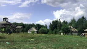 Panoramic view of the old Ukrainian village which is in ruin.
