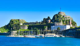 Panoramic view of the old venecian fortress in Corfu Town. Kerykra, Greece, island in the mediterranean sea. Important tourist attraction Royalty Free Stock Photos