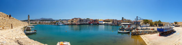 Panoramic view of the old venetian harbor in Rethymno, Greece Stock Image