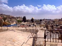 Panoramic view from old walls, Jerusalem. Israel, destination, ramparts walk, tourism, mystic, travel, pilgrims, old town, Middle East Royalty Free Stock Images