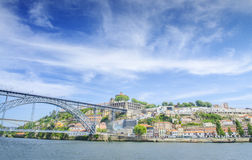 Panoramic view of oldtown Porto with bridge, Portugal. Royalty Free Stock Photography
