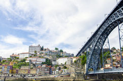 Panoramic view of oldtown Porto with bridge, Portugal Royalty Free Stock Photography