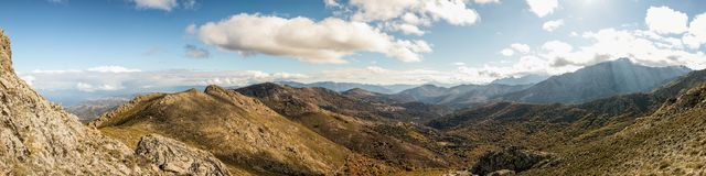 Panoramic view of Olmi Cappella valley with in Corsica Royalty Free Stock Images