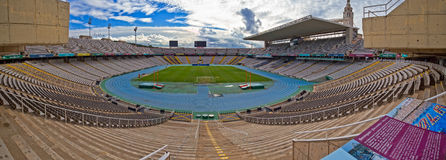 Panoramic view of Olympic Stadium in Barcelona of Spain, the sce Royalty Free Stock Photos