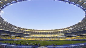 Panoramic view of Olympic stadium in Kyiv (Time Lapse) stock video footage