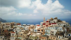 Panoramic view of Olympos in Karpathos island, Dodecanese Greece. Panoramic view of old tradition village Olympos in Karpathos island, Dodecanese Greece royalty free stock images