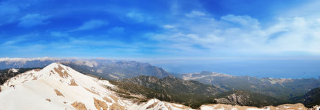 The panoramic view from Olympos Mountain Stock Photography