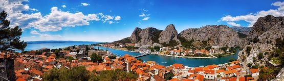 Panoramic view of the Omis royalty free stock photos