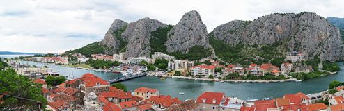 Panoramic view on Omis town. royalty free stock photography