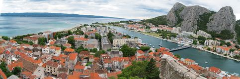 Panoramic view on Omis town. stock images