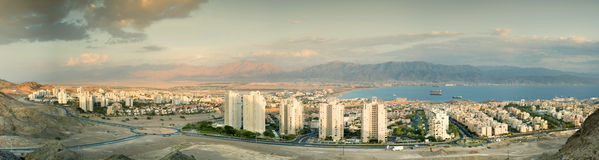Panoramic View On Eilat And Aqaba Royalty Free Stock Image