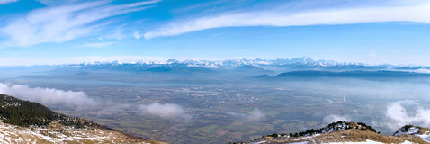 Panoramic View On Mont-Blanc Royalty Free Stock Image