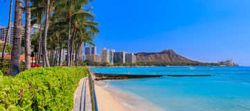 Panoramic view onto Diamond Head in Waikiki Hawaii. Panoramic view of Waikiki Beach and Diamond Head in Honolulu, Hawaii, USA Stock Images