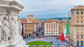 Panoramic view onto Piazza Venezia from Altar of the Fatherland Stock Photography