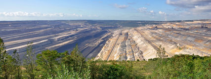 Panoramic view into open cast mining Stock Images