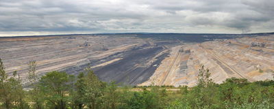 Panoramic view into open cast mining Royalty Free Stock Images