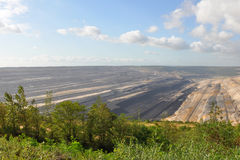 Panoramic view into open cast mining Stock Photo