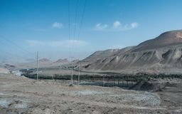 Panoramic view open cast mining in dessert stock images