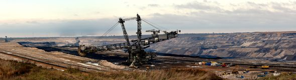 Panoramic view of opencast mining in my neighborhood. Brown coal open cast mining in my neighborhood, 20km from my house.  Villages in my neighborhood are Royalty Free Stock Image