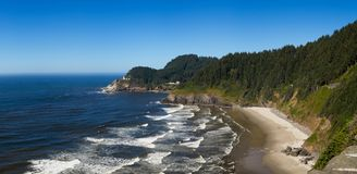 Panoramic View of the Oregon Coast Line Stock Photography