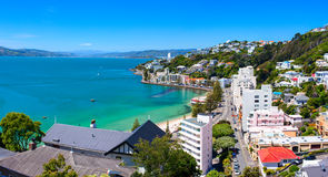 Panoramic view of the Oriental Bay. Wellington city, New Zealand. Stock Photos
