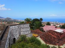 Panoramic view of orotava in tenerife with the historic watermil Stock Photos