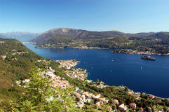 Panoramic View on Orta Lake Stock Photos
