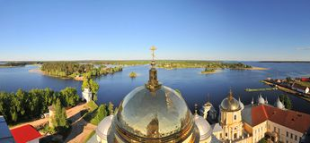 Panoramic view from the Orthodox monastery - Nilova pustyn, Russia stock photos