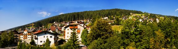 Panoramic View of Ortisei the Dolomites Italy Royalty Free Stock Images
