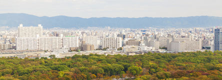 Panoramic view of Osaka city, Japan Stock Images