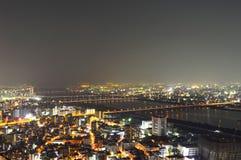 Panoramic view of Osaka city at night Stock Photos