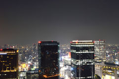 Panoramic view of Osaka city at night Royalty Free Stock Photography
