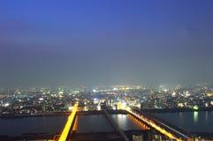 Panoramic view of Osaka city at night Royalty Free Stock Image