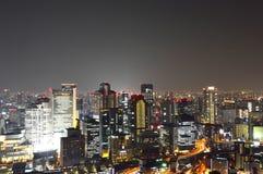 Panoramic view of Osaka city at night Stock Photo