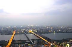 Panoramic view of Osaka city at sunset Stock Photo