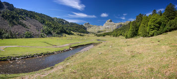 Panoramic view in the Ossau Valley in the Pyrenees France Royalty Free Stock Images