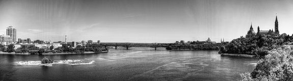 Panoramic view of Ottawa in Canada, in Black and White Royalty Free Stock Image