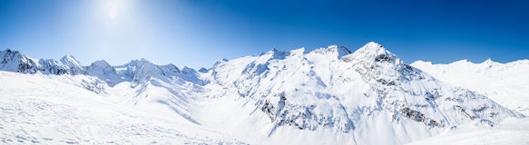 Panoramic Mountain View. Panoramic View of the Otztal Alps in Austria Stock Photography